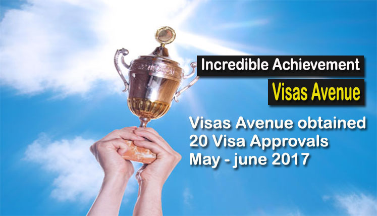 Exceptional Feat – Visas Avenue obtained 20 Visa Approvals for its Clients in May-June 2017